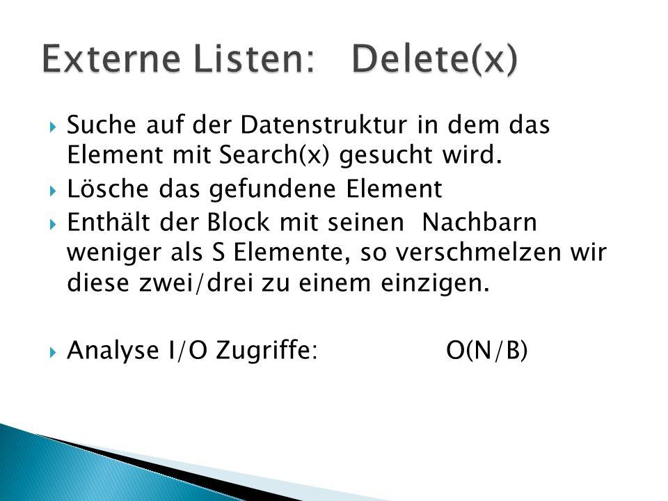 Suche auf der Datenstruktur in dem das Element mit Search(x) gesucht wird. Lösche das gefundene Element Enthält der Block mit seinen Nachbarn weniger