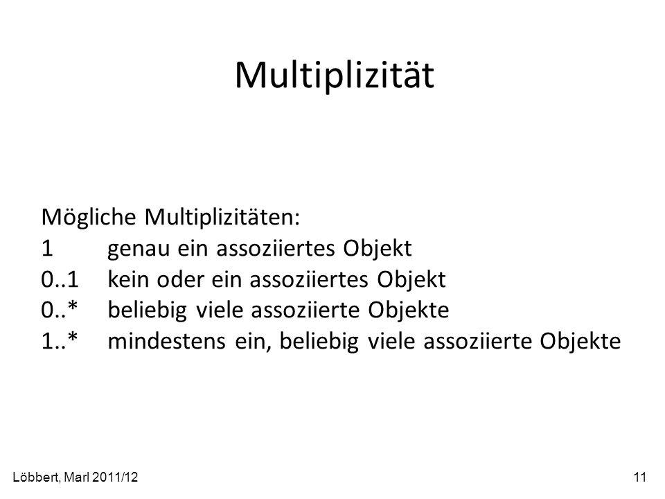 Multiplizität Löbbert, Marl 2011/1211 Mögliche Multiplizitäten: 1genau ein assoziiertes Objekt 0..1kein oder ein assoziiertes Objekt 0..*beliebig viel