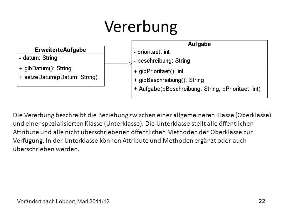 Vererbung Verändert nach Löbbert, Marl 2011/12 22 Die Vererbung beschreibt die Beziehung zwischen einer allgemeineren Klasse (Oberklasse) und einer sp