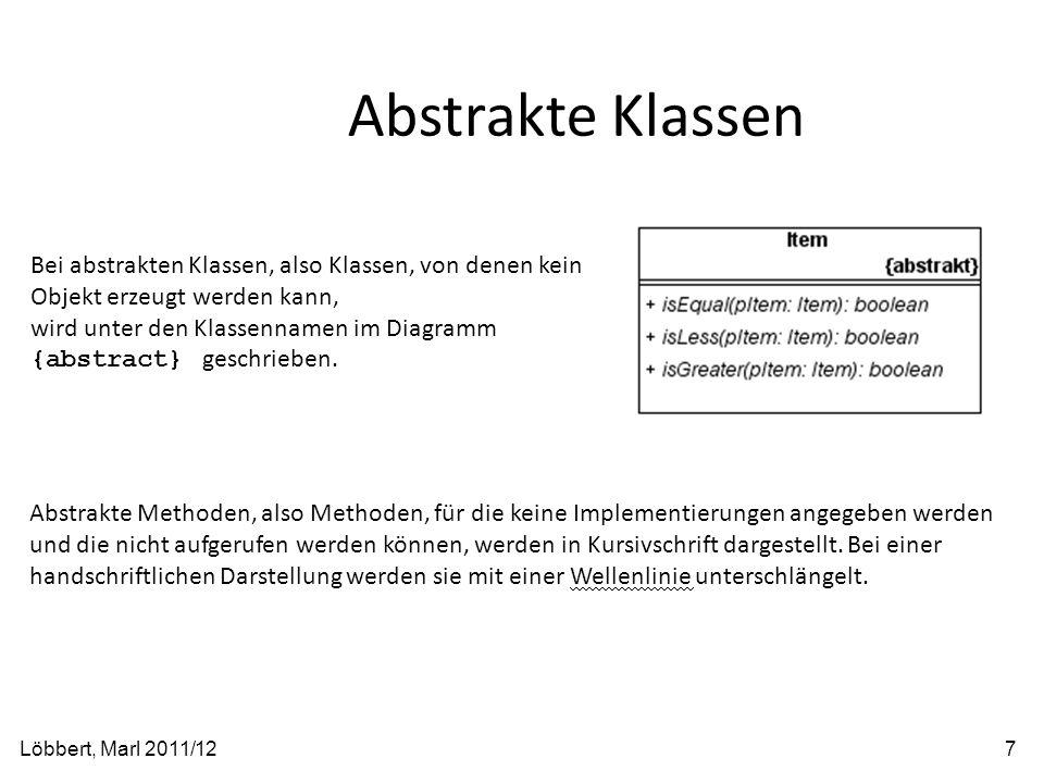 Abstrakte Klassen Löbbert, Marl 2011/127 Bei abstrakten Klassen, also Klassen, von denen kein Objekt erzeugt werden kann, wird unter den Klassennamen