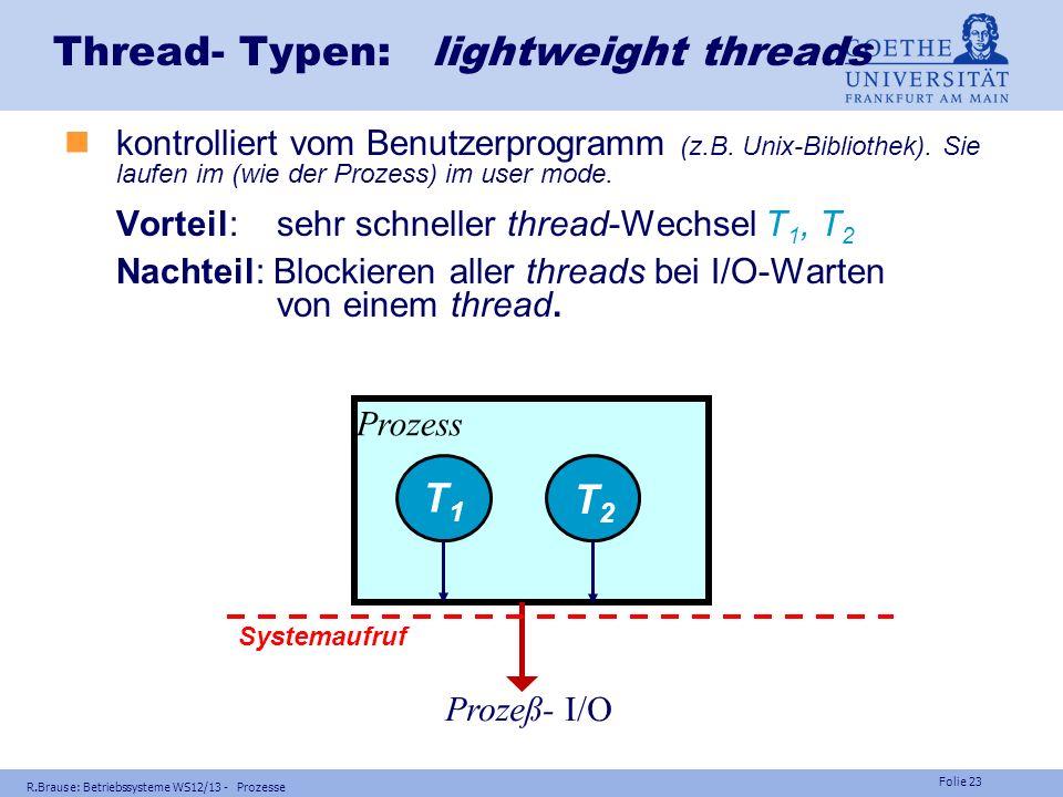 Folie 22 Prozesse und Threads DEF Prozess Ein Prozess umfasst Programmcode sowie alle Verwaltungsinformation, die zum Ausführen unabhängig von anderem