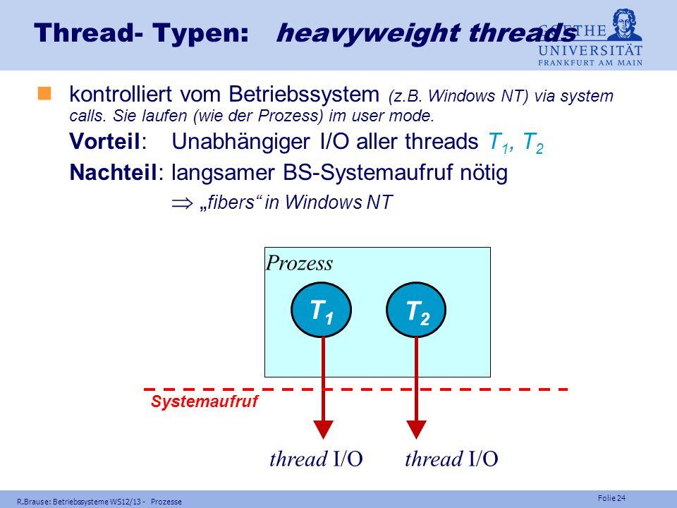 Folie 23 R.Brause: Betriebssysteme WS12/13 - Prozesse Thread- Typen: lightweight threads nkontrolliert vom Benutzerprogramm (z.B. Unix-Bibliothek). Si