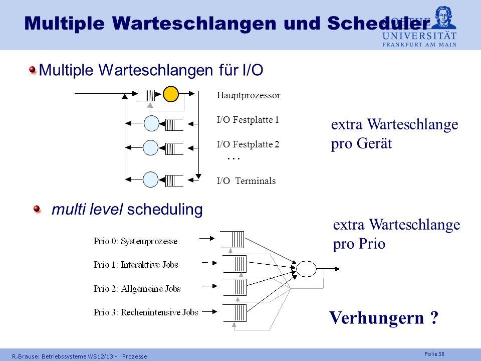 Folie 37 R.Brause: Betriebssysteme WS12/13 - Prozesse Adaption der Parameter Beispiel: Parameter a eines Prozesses = gewichteter Mittelwert aus dem ak