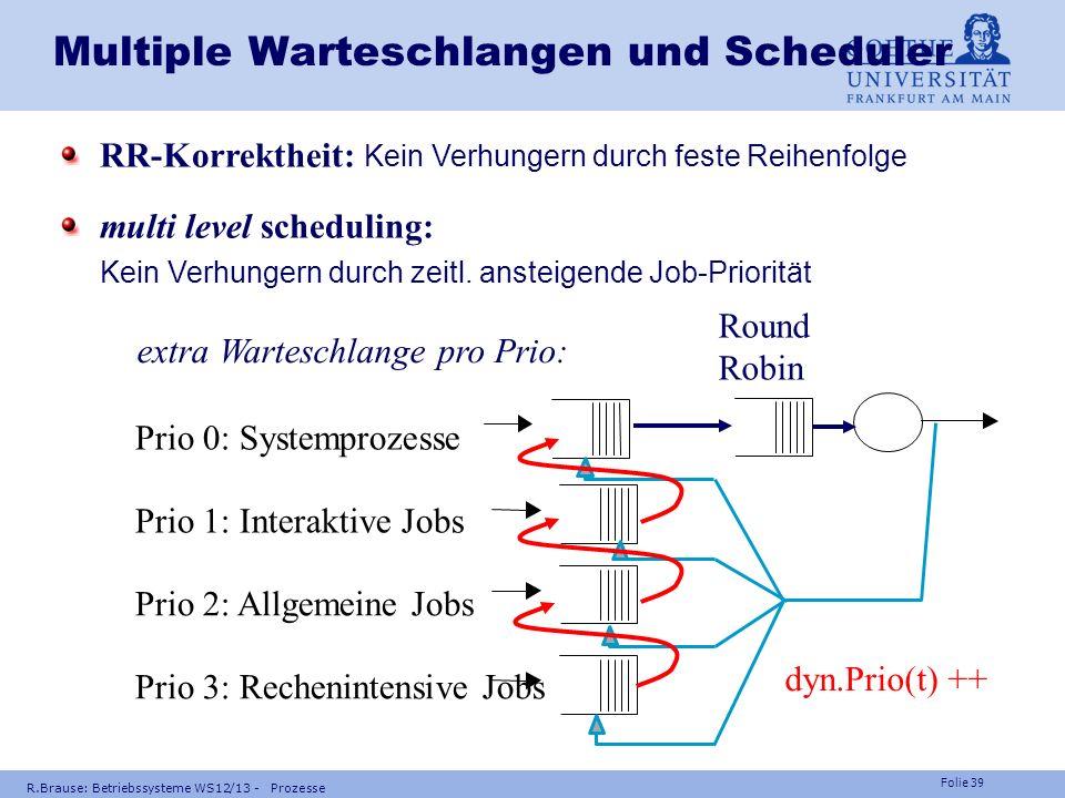 Folie 38 R.Brause: Betriebssysteme WS12/13 - Prozesse Multiple Warteschlangen und Scheduler Multiple Warteschlangen für I/O multi level scheduling ext