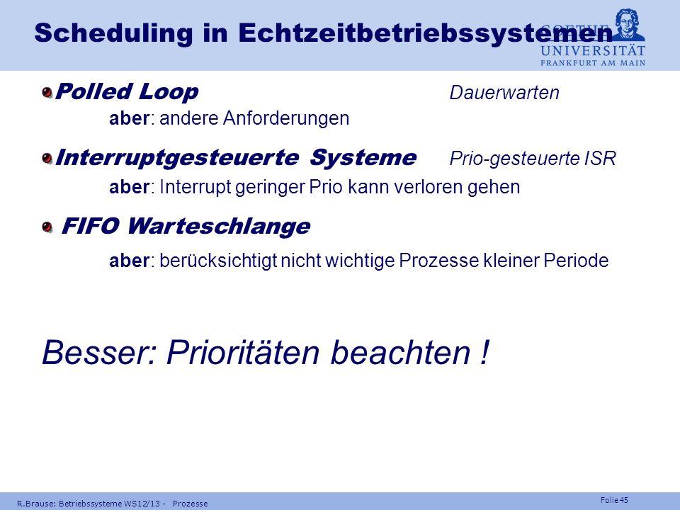 Folie 44 R.Brause: Betriebssysteme WS12/13 - Prozesse Scheduling in Echtzeitbetriebssystemen Beispiel Flugdatenverarbeitung,Tasks für flight-by-wire P