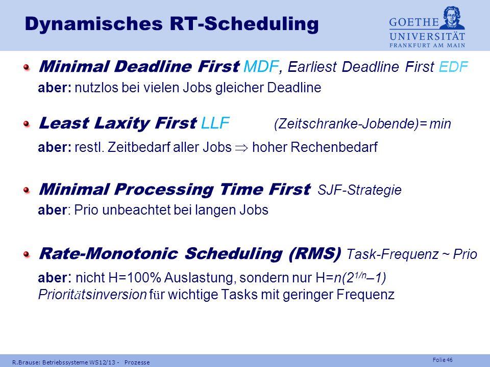 Folie 45 R.Brause: Betriebssysteme WS12/13 - Prozesse Scheduling in Echtzeitbetriebssystemen Polled Loop Dauerwarten aber: andere Anforderungen Interr