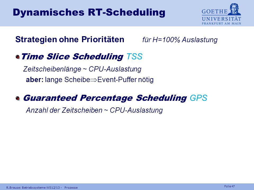 Folie 46 R.Brause: Betriebssysteme WS12/13 - Prozesse Dynamisches RT-Scheduling Minimal Deadline First MDF, Earliest Deadline First EDF aber: nutzlos