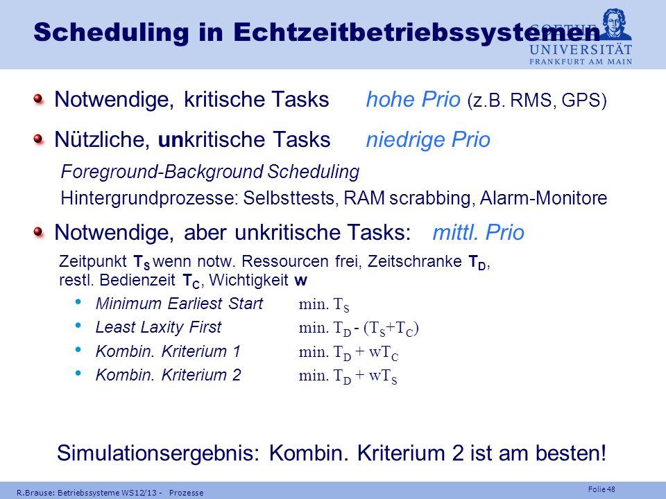 Folie 47 R.Brause: Betriebssysteme WS12/13 - Prozesse Dynamisches RT-Scheduling Strategien ohne Prioritäten für H=100% Auslastung Time Slice Schedulin