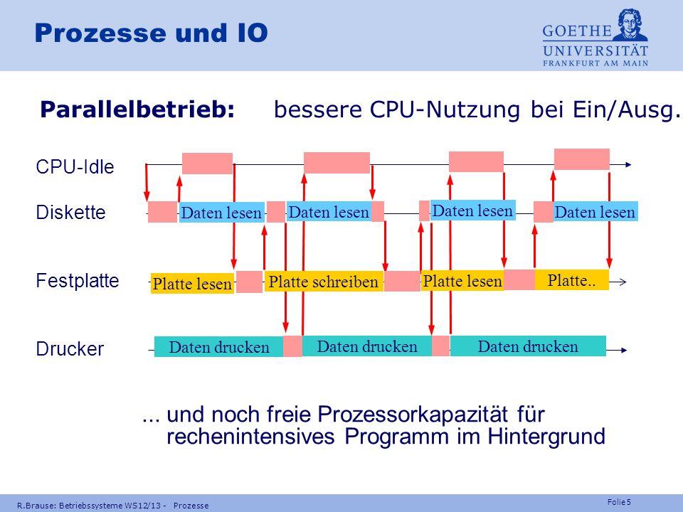 Folie 4 R.Brause: Betriebssysteme WS12/13 - Prozesse Programme und Prozesse Warum Mehrprozessbetrieb? Effiziente Nutzung des Systems Mehrprogrammbetri