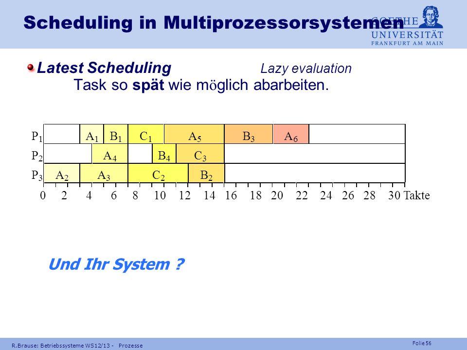 Folie 55 R.Brause: Betriebssysteme WS12/13 - Prozesse Scheduling in Multiprozessorsystemen Zerteilung Zerteilung der Taskmenge in Stufen (Pr ä zedenzp