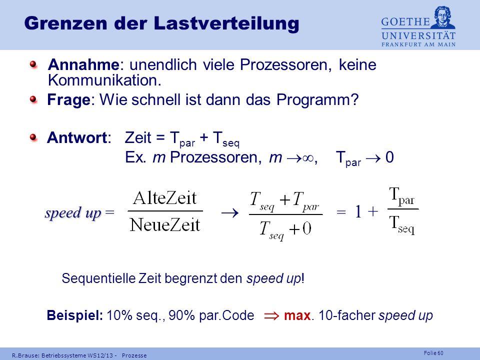 Folie 59 R.Brause: Betriebssysteme WS12/13 - Prozesse Multiprozessorscheduling: Minimalzeit Annahme: Prio-gesteuerte, präzedenzorientierte, zentrale W