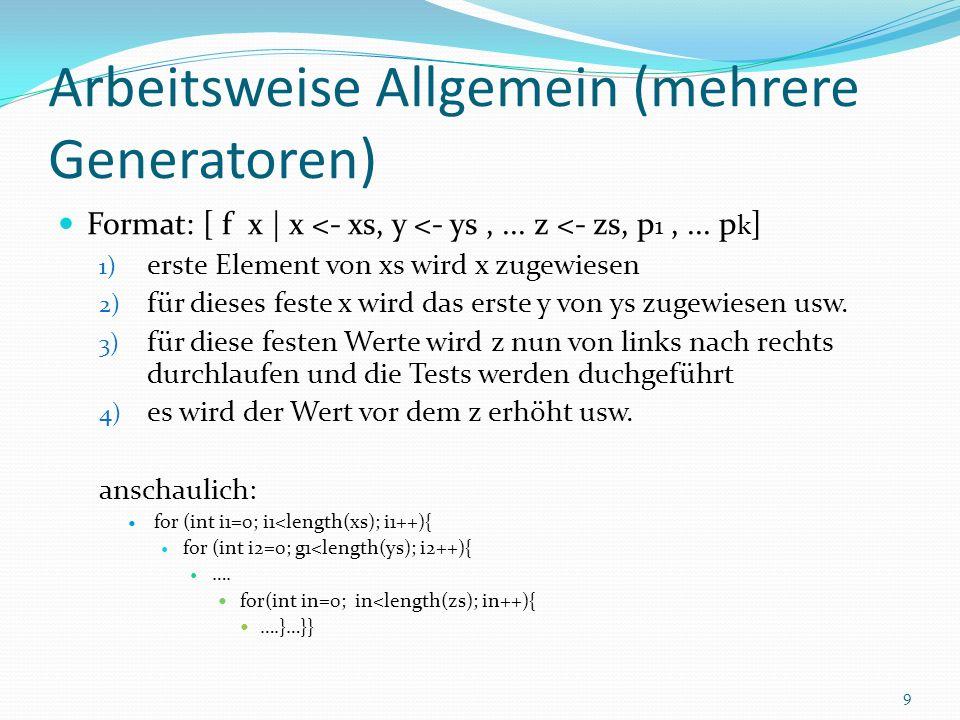 Arbeitsweise Allgemein (mehrere Generatoren) Format: [ f x | x <- xs, y <- ys,...