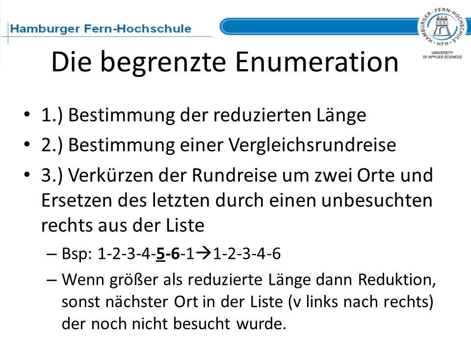 Die begrenzte Enumeration 1.) Bestimmung der reduzierten Länge 2.) Bestimmung einer Vergleichsrundreise 3.) Verkürzen der Rundreise um zwei Orte und E