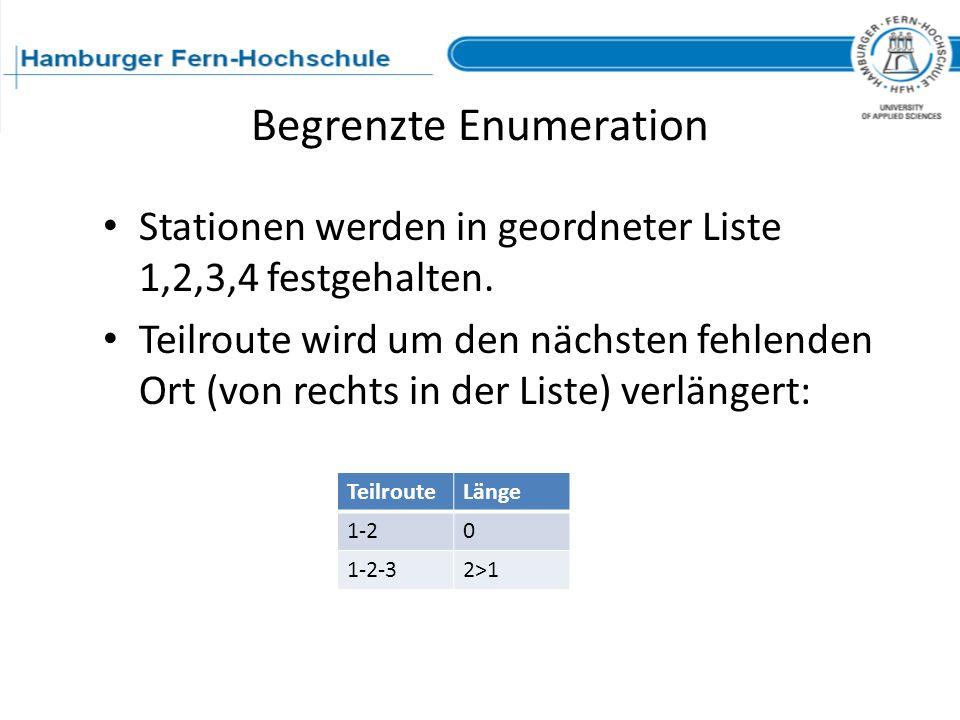 Begrenzte Enumeration Stationen werden in geordneter Liste 1,2,3,4 festgehalten. Teilroute wird um den nächsten fehlenden Ort (von rechts in der Liste