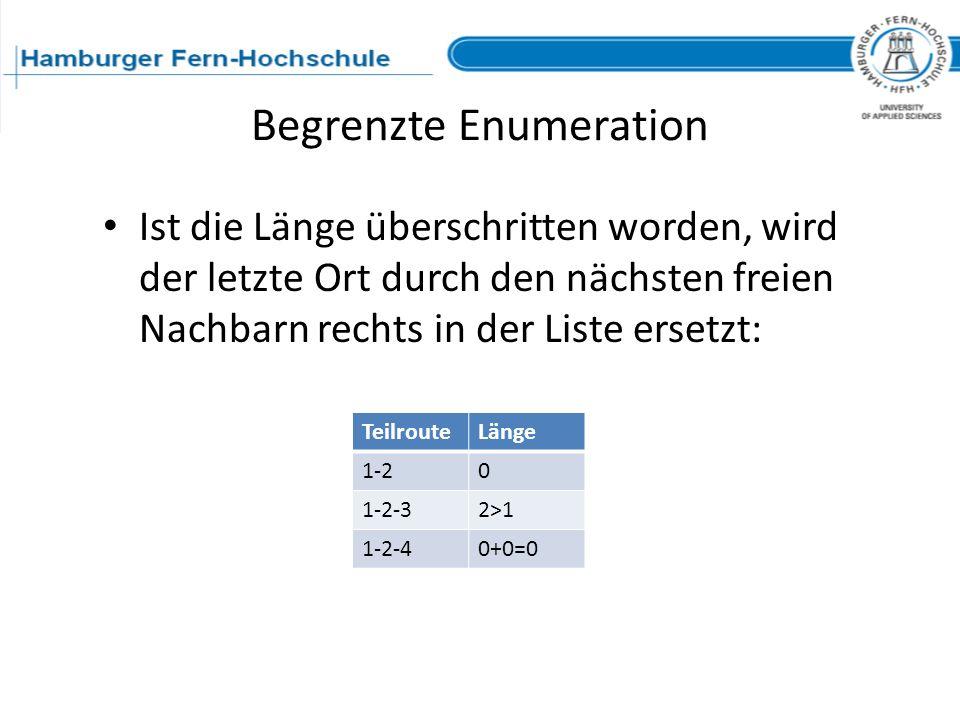 Begrenzte Enumeration Ist die Länge überschritten worden, wird der letzte Ort durch den nächsten freien Nachbarn rechts in der Liste ersetzt: Teilrout