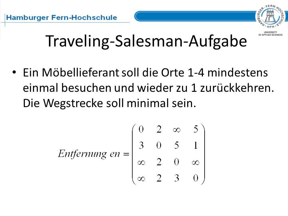 Ein Möbellieferant soll die Orte 1-4 mindestens einmal besuchen und wieder zu 1 zurückkehren. Die Wegstrecke soll minimal sein. Traveling-Salesman-Auf