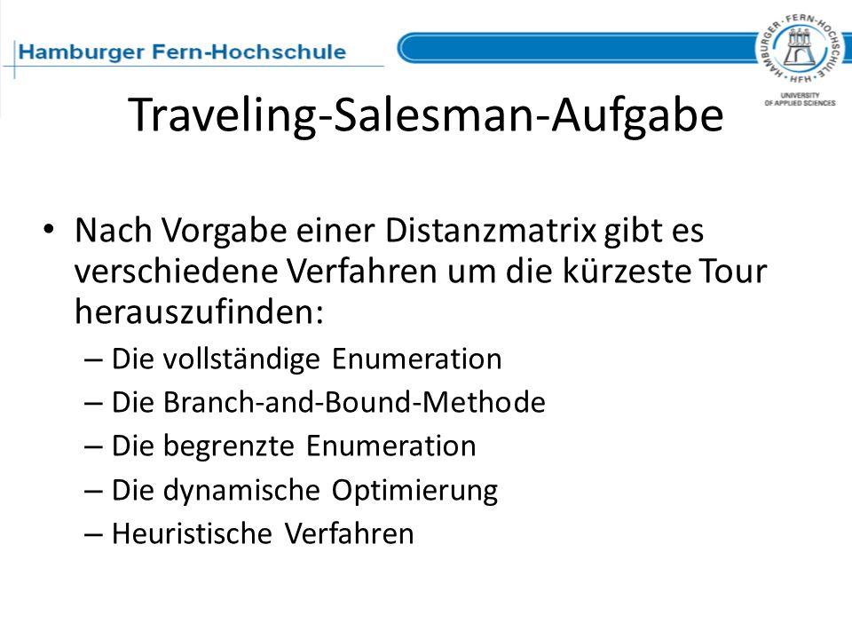 Traveling-Salesman-Aufgabe Nach Vorgabe einer Distanzmatrix gibt es verschiedene Verfahren um die kürzeste Tour herauszufinden: – Die vollständige Enu