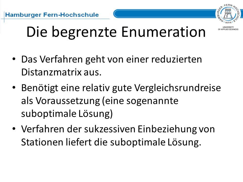 Die begrenzte Enumeration Das Verfahren geht von einer reduzierten Distanzmatrix aus. Benötigt eine relativ gute Vergleichsrundreise als Voraussetzung