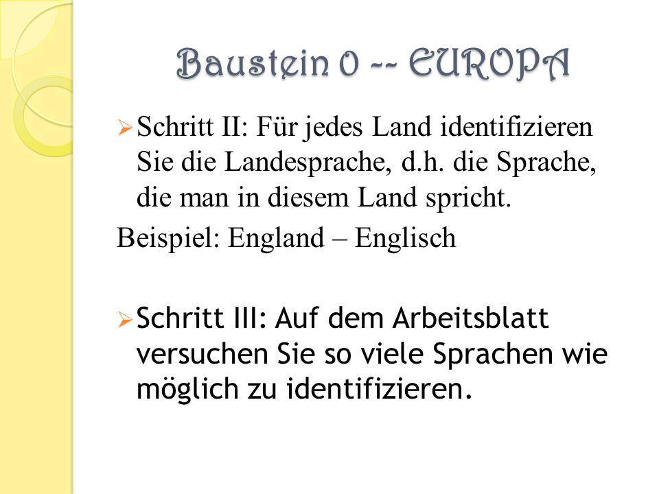 Baustein 0 -- EUROPA Schritt II: Für jedes Land identifizieren Sie die Landesprache, d.h. die Sprache, die man in diesem Land spricht. Beispiel: Engla