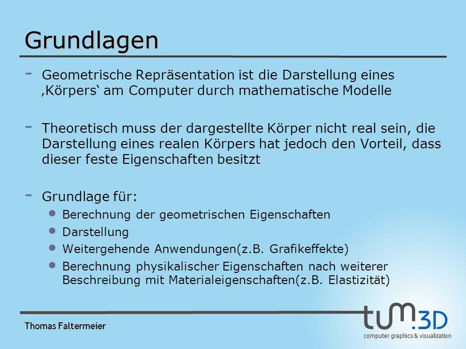 computer graphics & visualization Thomas Faltermeier Definition starrer Körper - Translationsvariant(frei verschiebbar) - Translationsvariant(frei verschiebbar) - Rotationsvariant(frei drehbar) - Rotationsvariant(frei drehbar) - Echte Dreidimensionale Strukturen, d.h.
