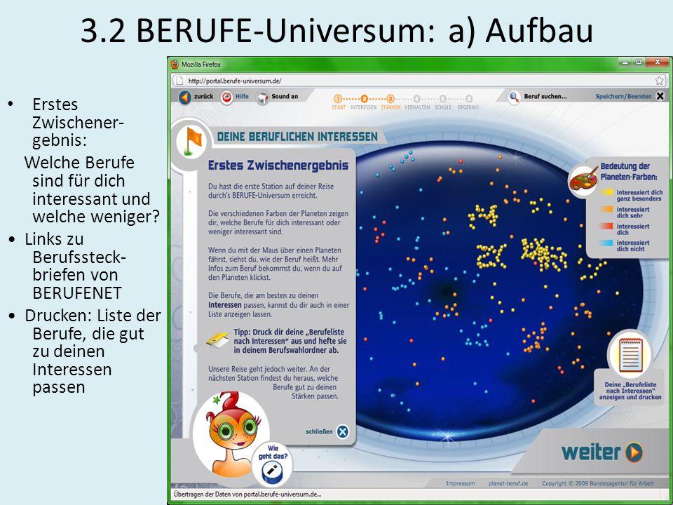 3.2 BERUFE-Universum: a) Aufbau Erstes Zwischener- gebnis: Welche Berufe sind für dich interessant und welche weniger? Links zu Berufssteck- briefen v