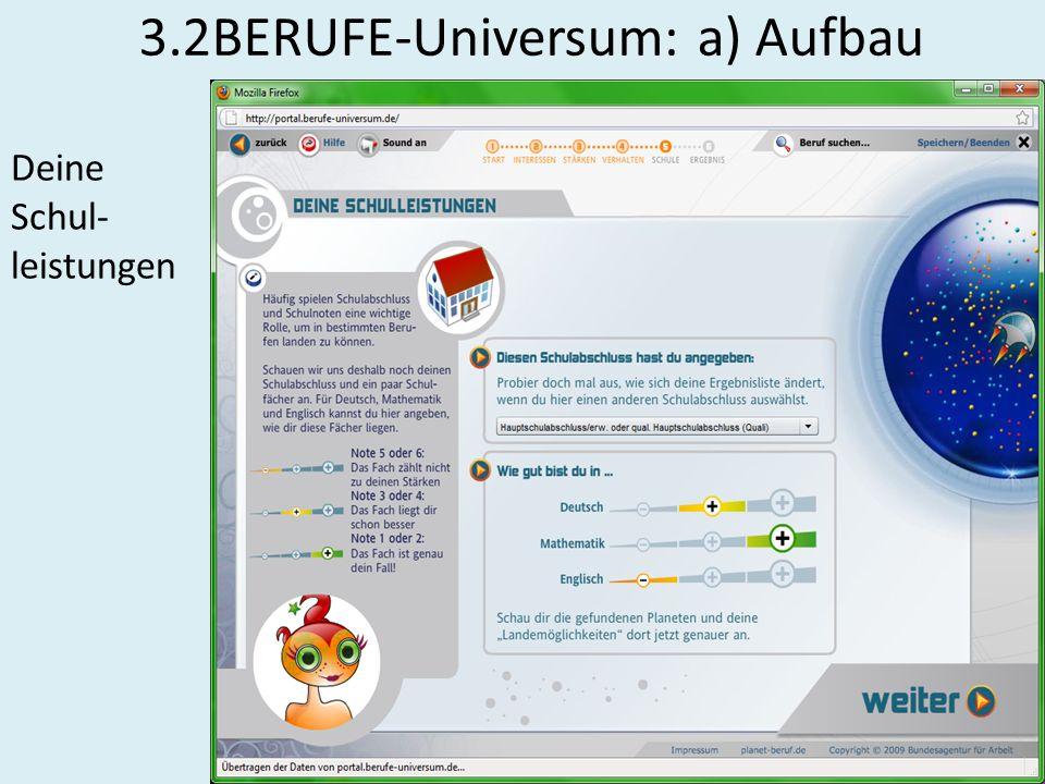 3.2BERUFE-Universum: a) Aufbau Deine Schul- leistungen
