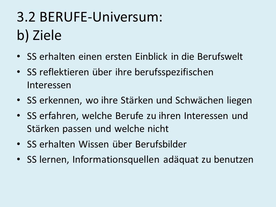 3.2 BERUFE-Universum: b) Ziele SS erhalten einen ersten Einblick in die Berufswelt SS reflektieren über ihre berufsspezifischen Interessen SS erkennen