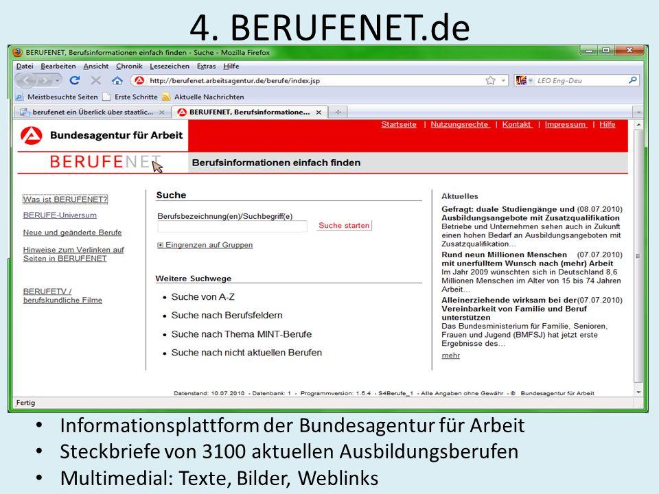 4. BERUFENET.de Informationsplattform der Bundesagentur für Arbeit Steckbriefe von 3100 aktuellen Ausbildungsberufen Multimedial: Texte, Bilder, Webli
