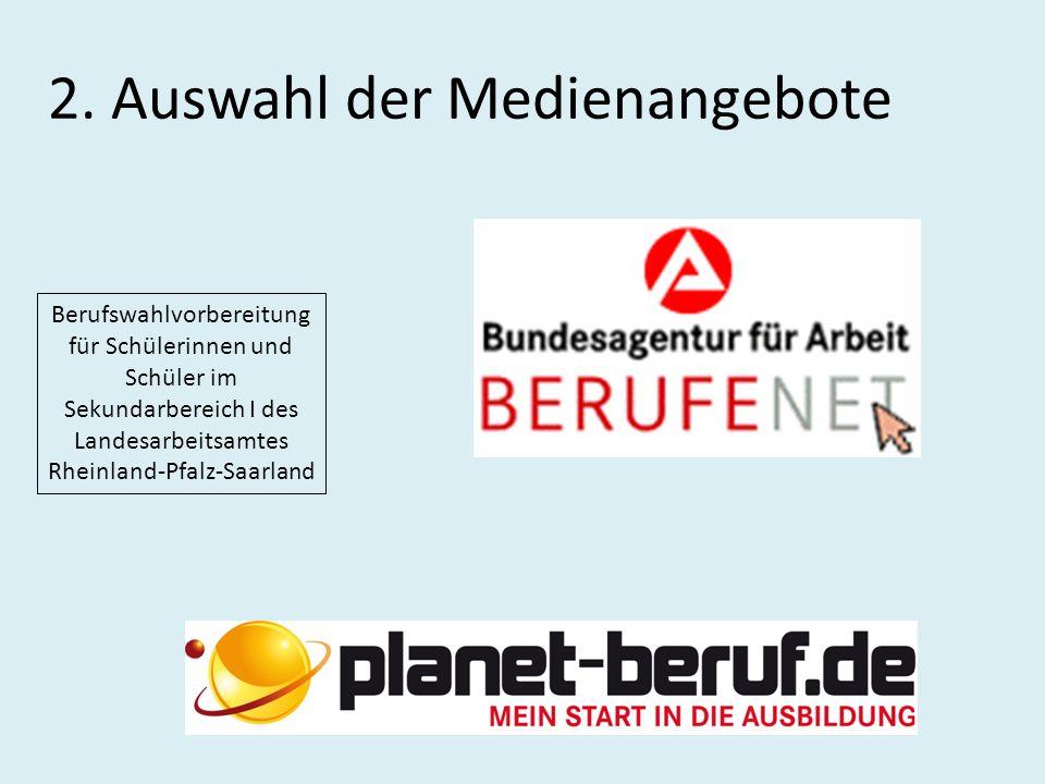 2. Auswahl der Medienangebote Berufswahlvorbereitung für Schülerinnen und Schüler im Sekundarbereich I des Landesarbeitsamtes Rheinland-Pfalz-Saarland