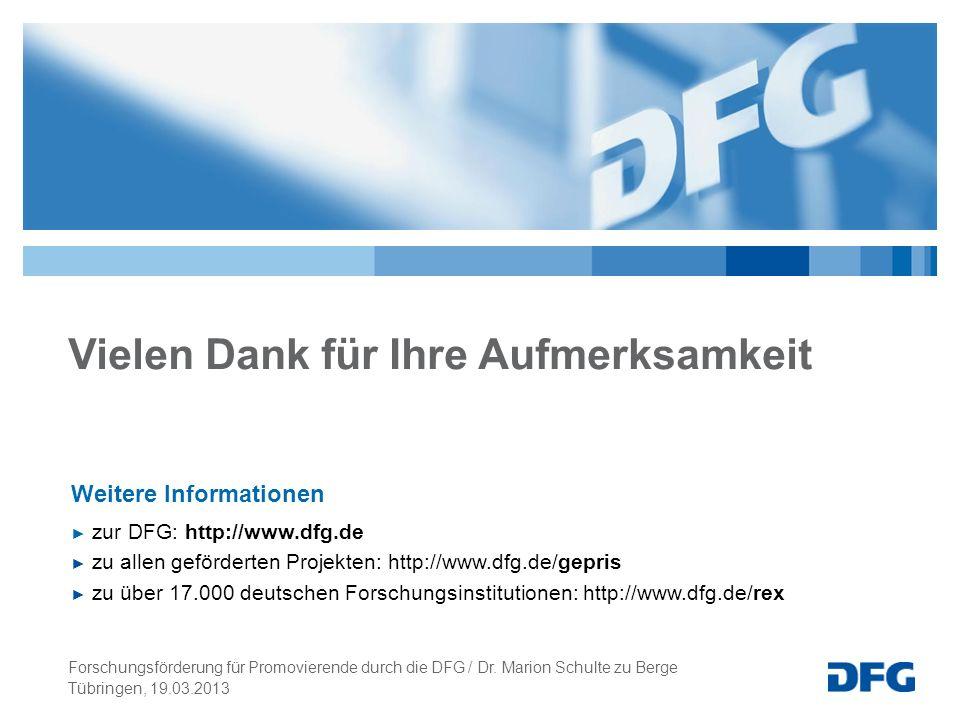 Vielen Dank für Ihre Aufmerksamkeit Weitere Informationen zur DFG: http://www.dfg.de zu allen geförderten Projekten: http://www.dfg.de/gepris zu über 17.000 deutschen Forschungsinstitutionen: http://www.dfg.de/rex Tübringen, 19.03.2013 Forschungsförderung für Promovierende durch die DFG / Dr.