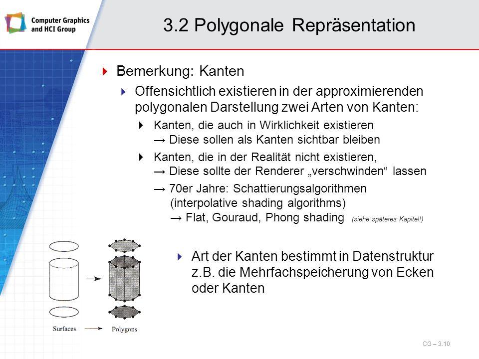 3.2 Polygonale Repräsentation Bemerkung: Kanten Offensichtlich existieren in der approximierenden polygonalen Darstellung zwei Arten von Kanten: Kante
