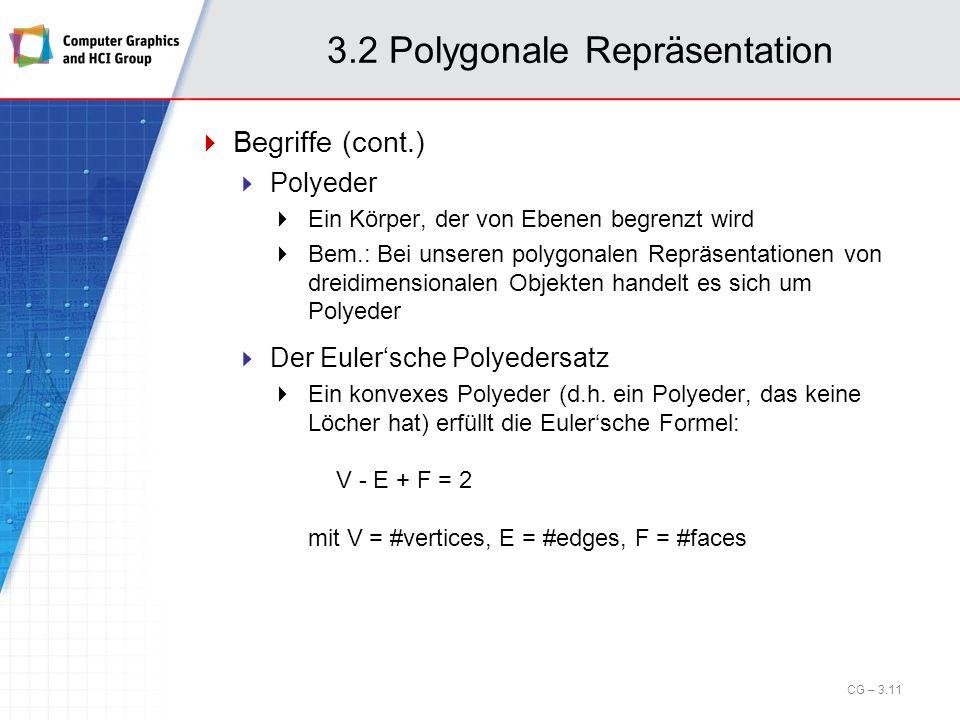 3.2 Polygonale Repräsentation Begriffe (cont.) Polyeder Ein Körper, der von Ebenen begrenzt wird Bem.: Bei unseren polygonalen Repräsentationen von dr