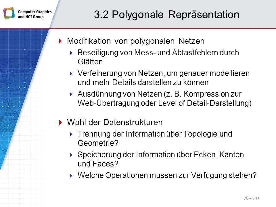 3.2 Polygonale Repräsentation Modifikation von polygonalen Netzen Beseitigung von Mess- und Abtastfehlern durch Glätten Verfeinerung von Netzen, um ge