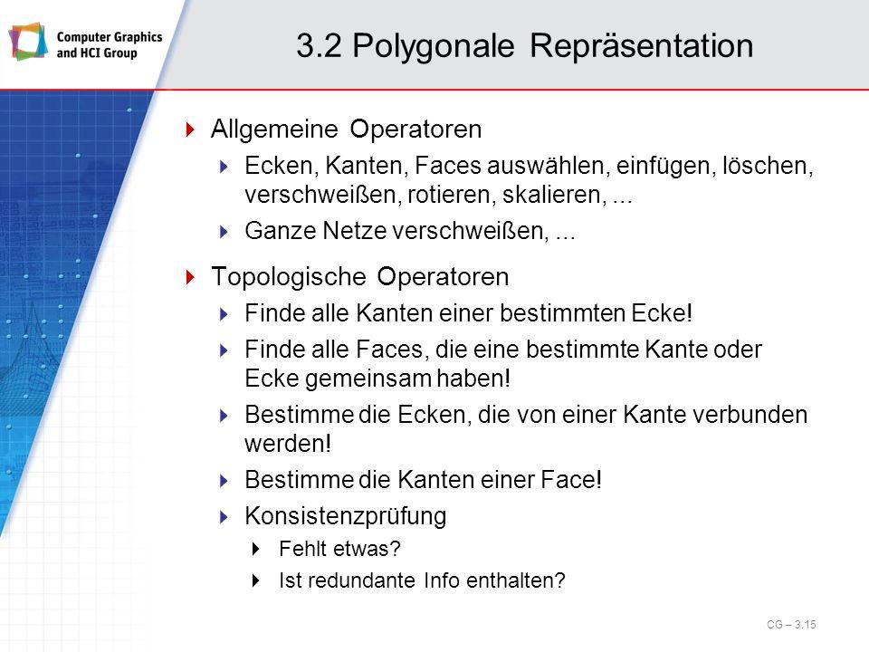 3.2 Polygonale Repräsentation Allgemeine Operatoren Ecken, Kanten, Faces auswählen, einfügen, löschen, verschweißen, rotieren, skalieren,... Ganze Net