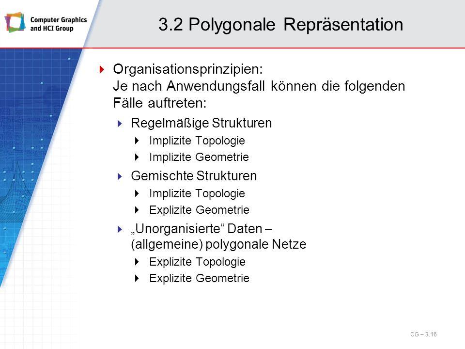 3.2 Polygonale Repräsentation Organisationsprinzipien: Je nach Anwendungsfall können die folgenden Fälle auftreten: Regelmäßige Strukturen Implizite T