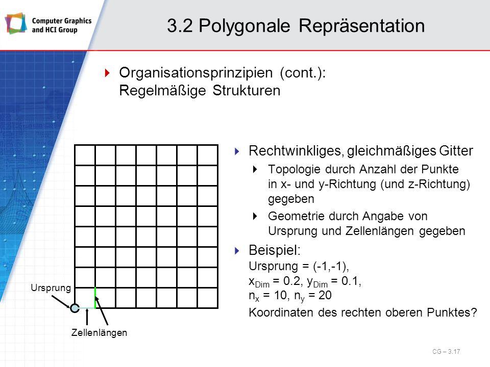 3.2 Polygonale Repräsentation Organisationsprinzipien (cont.): Regelmäßige Strukturen CG – 3.17 Ursprung Zellenlängen Rechtwinkliges, gleichmäßiges Gi