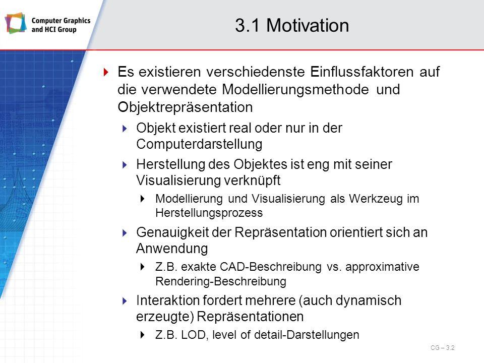 3.1 Motivation Die Modellierung und Repräsentation von Objekten betrifft insbesondere die folgenden Aspekte Erzeugung dreidimensionaler Computergrafik- Darstellungen CAD-Interface, Digitizer, Laser-Scanner, analytische Techniken Wahl, Repräsentation und Verarbeitung der Datenstruktur Polygonnetz (z.B.