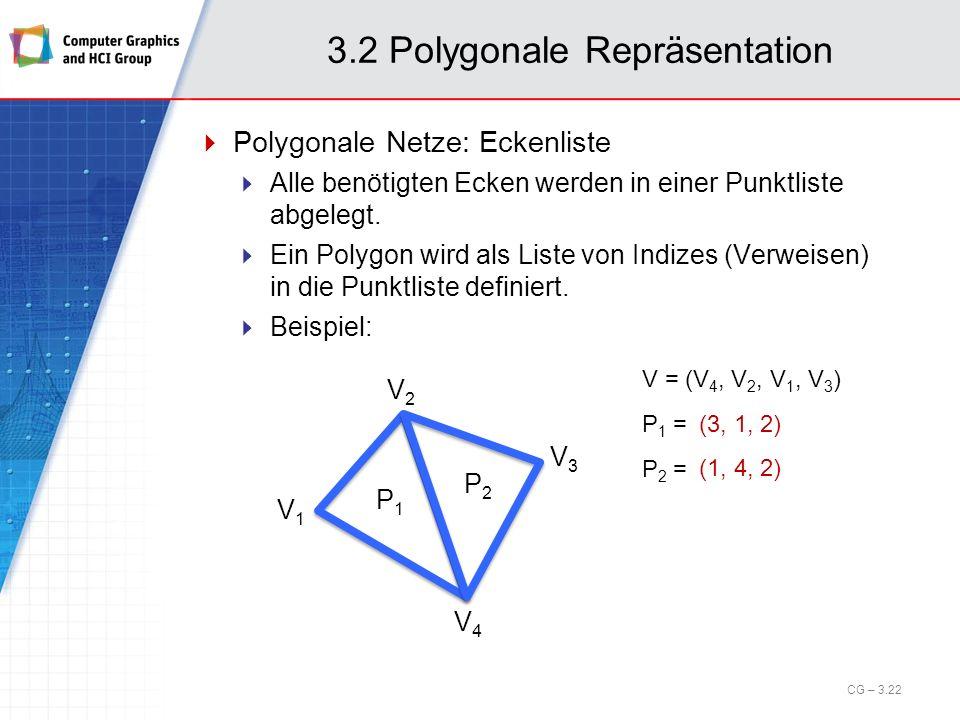 3.2 Polygonale Repräsentation Polygonale Netze: Eckenliste Alle benötigten Ecken werden in einer Punktliste abgelegt. Ein Polygon wird als Liste von I