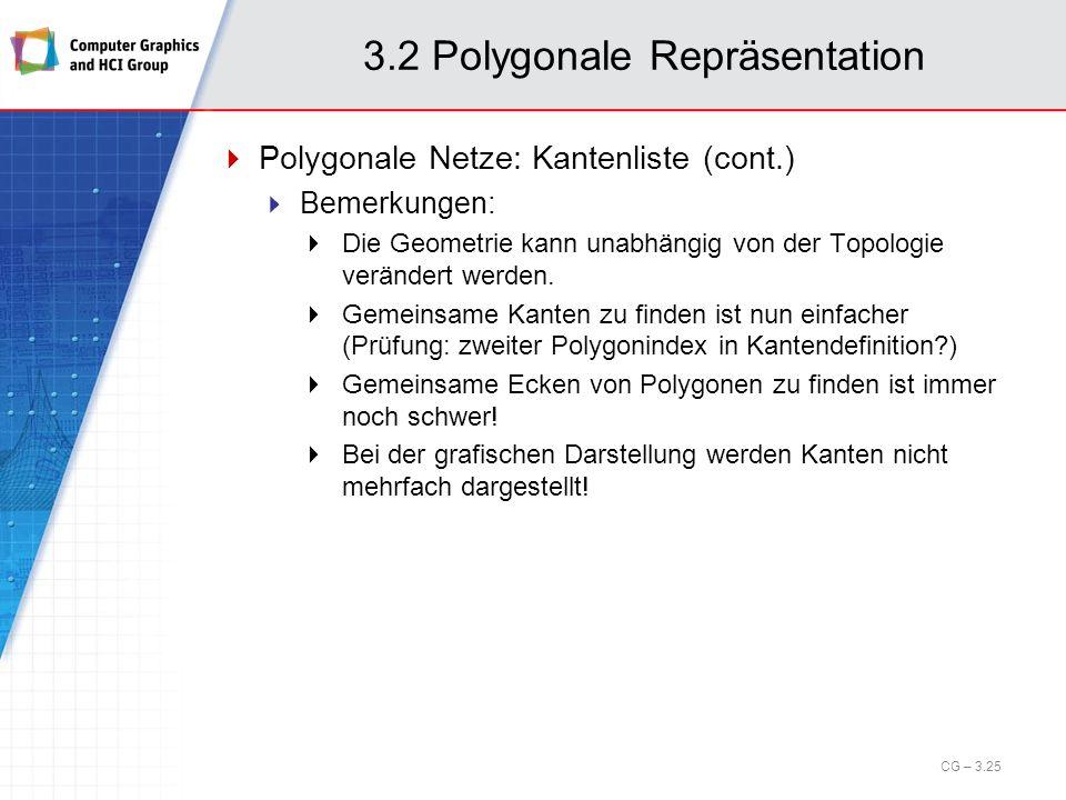 3.2 Polygonale Repräsentation Polygonale Netze: Kantenliste (cont.) Bemerkungen: Die Geometrie kann unabhängig von der Topologie verändert werden. Gem