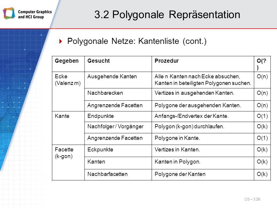 3.2 Polygonale Repräsentation Polygonale Netze: Kantenliste (cont.) CG – 3.26 GegebenGesuchtProzedurO(? ) Ecke (Valenz m) Ausgehende KantenAlle n Kant