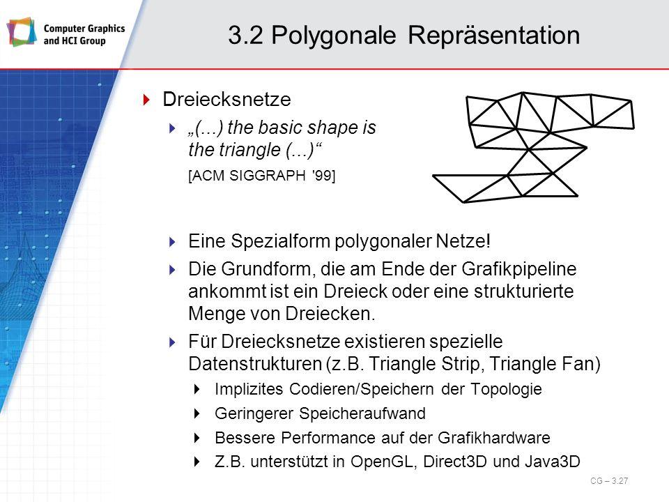 3.2 Polygonale Repräsentation Dreiecksnetze (...) the basic shape is the triangle (...) [ACM SIGGRAPH '99] Eine Spezialform polygonaler Netze! Die Gru