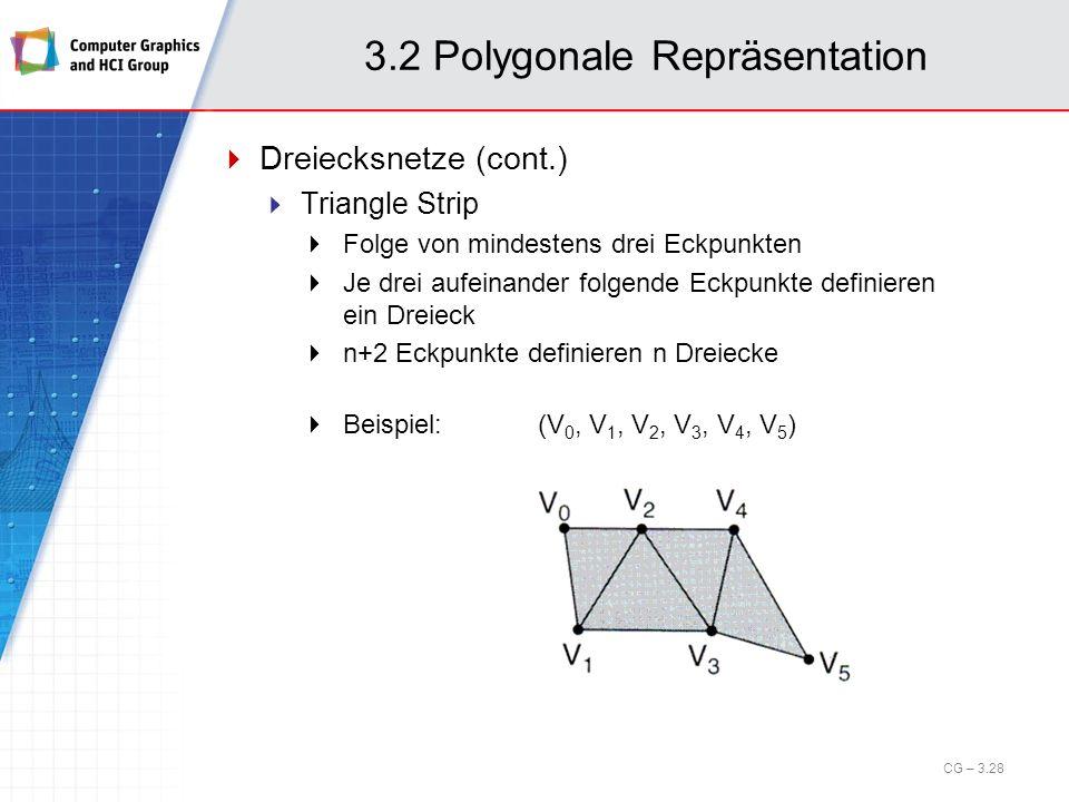 3.2 Polygonale Repräsentation Dreiecksnetze (cont.) Triangle Strip Folge von mindestens drei Eckpunkten Je drei aufeinander folgende Eckpunkte definie