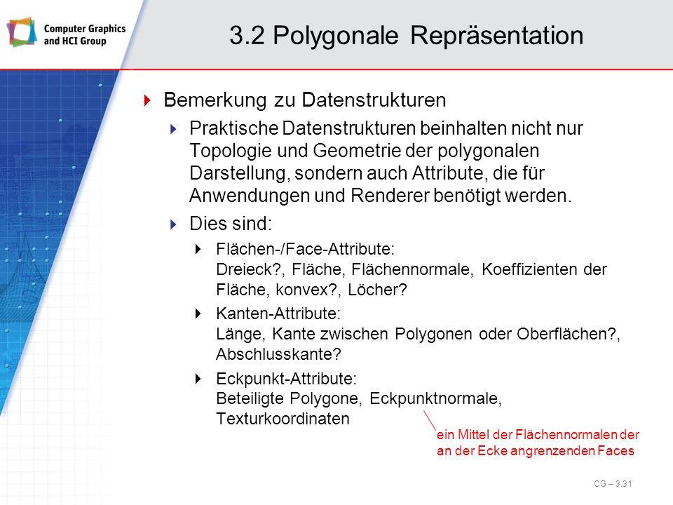 3.2 Polygonale Repräsentation Bemerkung zu Datenstrukturen Praktische Datenstrukturen beinhalten nicht nur Topologie und Geometrie der polygonalen Dar