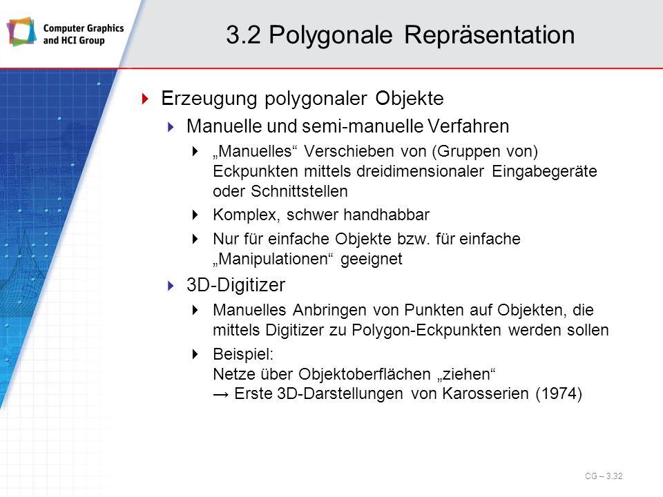 3.2 Polygonale Repräsentation Erzeugung polygonaler Objekte Manuelle und semi-manuelle Verfahren Manuelles Verschieben von (Gruppen von) Eckpunkten mi
