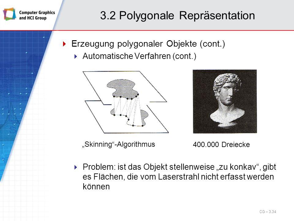 3.2 Polygonale Repräsentation Erzeugung polygonaler Objekte (cont.) Automatische Verfahren (cont.) CG – 3.34 Skinning-Algorithmus 400.000 Dreiecke Pro