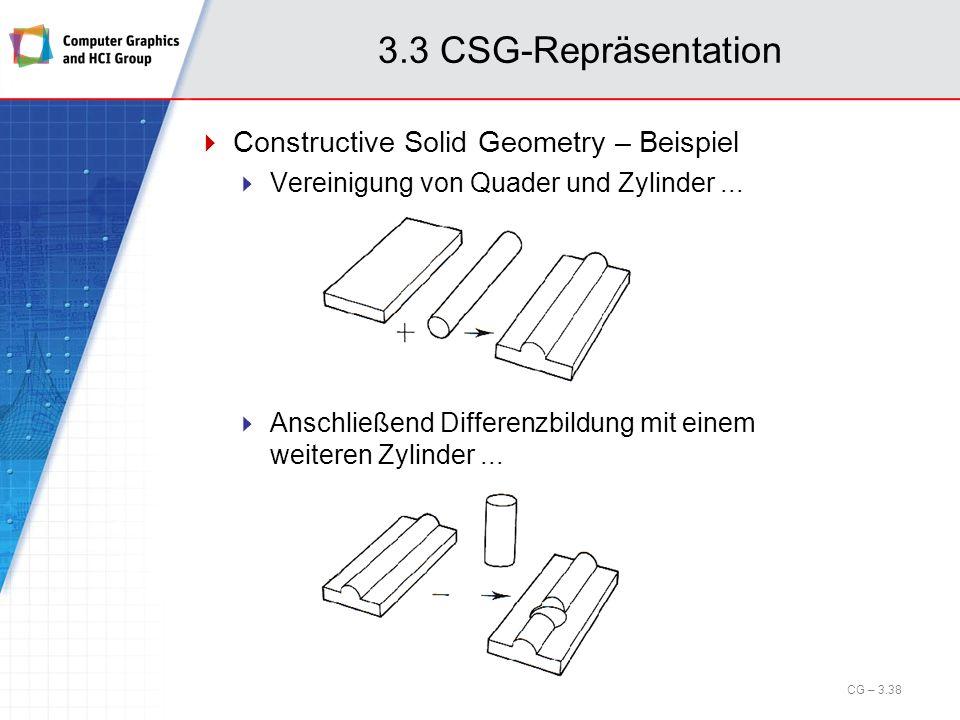 3.3 CSG-Repräsentation Constructive Solid Geometry – Beispiel Vereinigung von Quader und Zylinder... Anschließend Differenzbildung mit einem weiteren