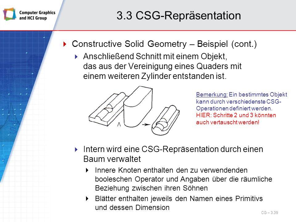 3.3 CSG-Repräsentation Constructive Solid Geometry – Beispiel (cont.) Anschließend Schnitt mit einem Objekt, das aus der Vereinigung eines Quaders mit