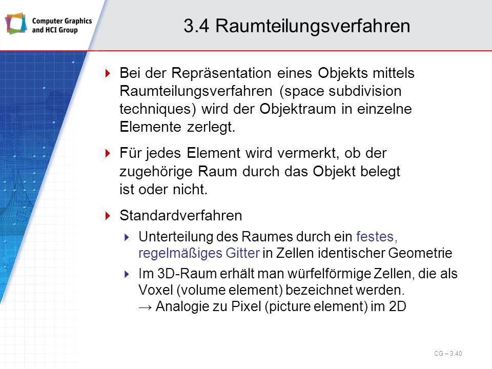 3.4 Raumteilungsverfahren Bei der Repräsentation eines Objekts mittels Raumteilungsverfahren (space subdivision techniques) wird der Objektraum in ein