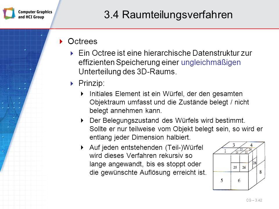 3.4 Raumteilungsverfahren Octrees Ein Octree ist eine hierarchische Datenstruktur zur effizienten Speicherung einer ungleichmäßigen Unterteilung des 3