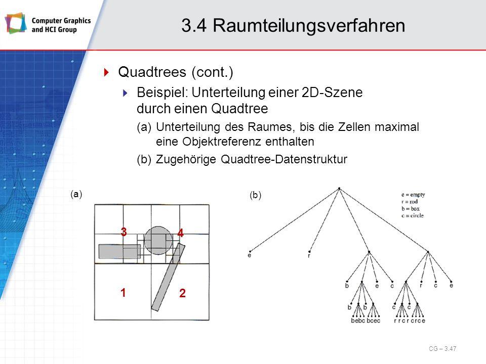 3.4 Raumteilungsverfahren Quadtrees (cont.) Beispiel: Unterteilung einer 2D-Szene durch einen Quadtree (a)Unterteilung des Raumes, bis die Zellen maxi